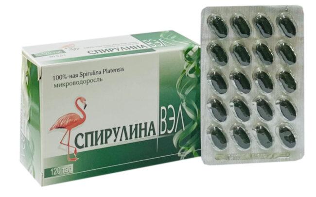 Спирулина ВЭЛ, 120 таблеток, В-Мин+ ООО